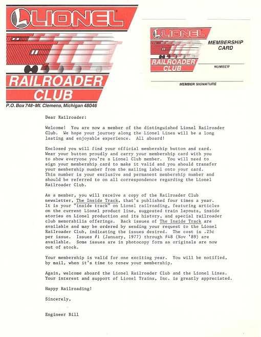 LRRC Welcome letter with Membership Card